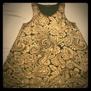 NWOT MINKPINK Gold & Black sleeveless shift dress